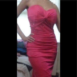 Satin strapless fuschia dress - Like New!